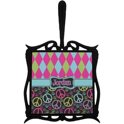 Harlequin & Peace Signs Trivet with Handle (Personalized)