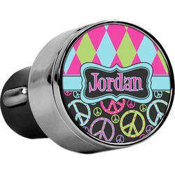 Harlequin & Peace Signs USB Car Charger (Personalized)