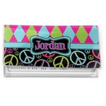 Harlequin & Peace Signs Vinyl Checkbook Cover (Personalized)