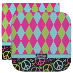 Harlequin & Peace Signs Facecloth / Wash Cloth (Personalized)