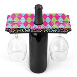 Harlequin & Peace Signs Wine Bottle & Glass Holder (Personalized)
