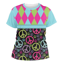 Harlequin & Peace Signs Women's Crew T-Shirt (Personalized)