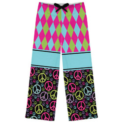 Harlequin & Peace Signs Womens Pajama Pants (Personalized)