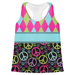 Harlequin & Peace Signs Womens Racerback Tank Top (Personalized)
