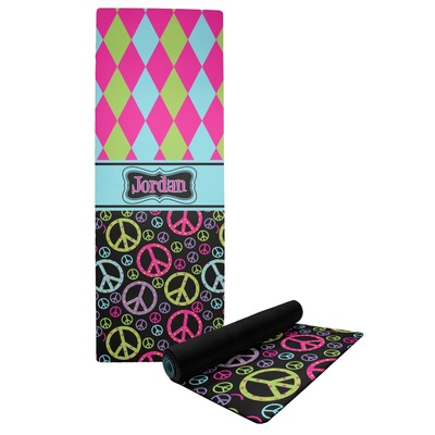 Harlequin & Peace Signs Yoga Mat (Personalized)