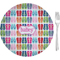 "FlipFlop Glass Appetizer / Dessert Plates 8"" - Single or Set (Personalized)"