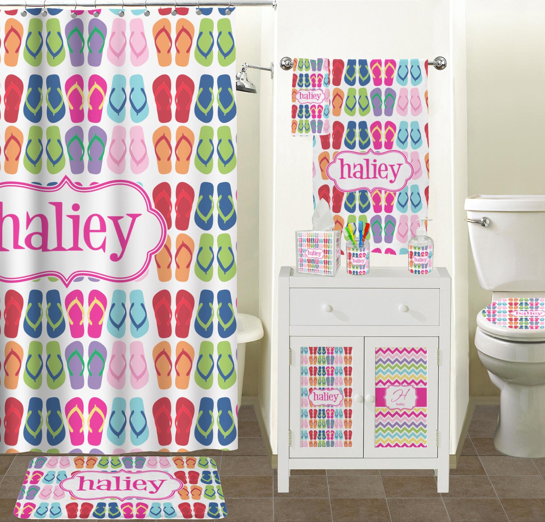 FlipFlop Shower Curtain (Personalized) Shower Curtain Sizes FlipFlop  Bathroom Scene ...  Flip Flop Shower Curtain