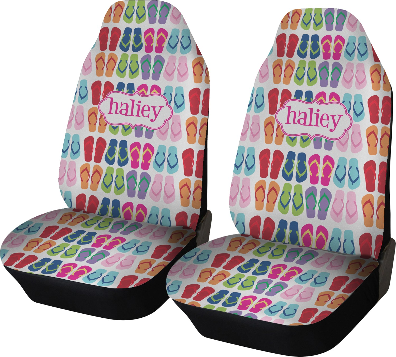 FlipFlop Car Seat Covers Set Of Two Personalized