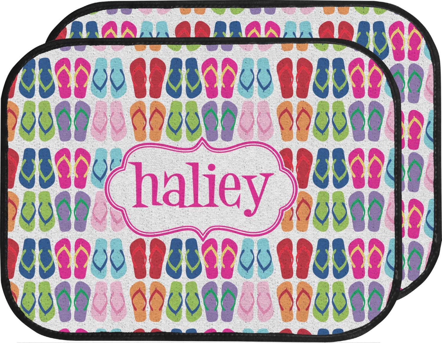 Flipflop Car Floor Mats Back Seat Personalized