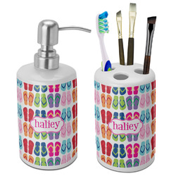 FlipFlop Bathroom Accessories Set (Ceramic) (Personalized)
