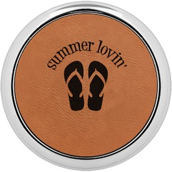 FlipFlop Leatherette Round Coaster w/ Silver Edge - Single or Set (Personalized)