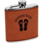 FlipFlop Leatherette Wrapped Stainless Steel Flask (Personalized)