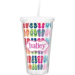 FlipFlop Double Wall Tumbler with Straw (Personalized)
