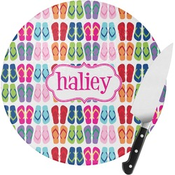 FlipFlop Round Glass Cutting Board (Personalized)
