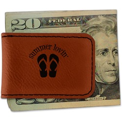 FlipFlop Leatherette Magnetic Money Clip - Single Sided (Personalized)