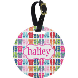 FlipFlop Plastic Luggage Tag - Round (Personalized)