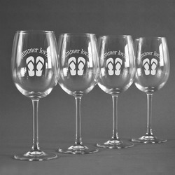 FlipFlop Wine Glasses (Set of 4) (Personalized)