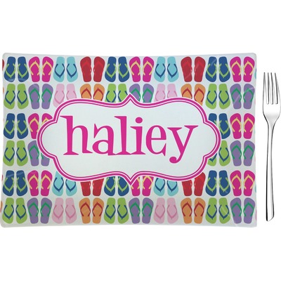 FlipFlop Rectangular Glass Appetizer / Dessert Plate - Single or Set (Personalized)