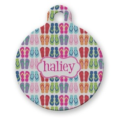FlipFlop Round Pet Tag (Personalized)