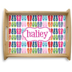 FlipFlop Natural Wooden Tray - Large (Personalized)