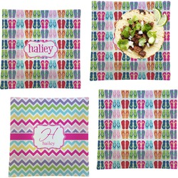 """FlipFlop Set of 4 Glass Square Lunch / Dinner Plate 9.5"""" (Personalized)"""