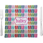 """FlipFlop Glass Square Lunch / Dinner Plate 9.5"""" - Single or Set of 4 (Personalized)"""