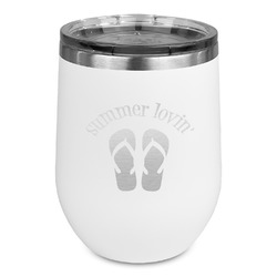 FlipFlop Stemless Wine Tumbler - 5 Color Choices - Stainless Steel  (Personalized)