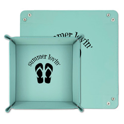 FlipFlop Teal Faux Leather Valet Tray (Personalized)