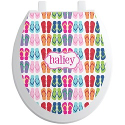 FlipFlop Toilet Seat Decal - Round (Personalized)