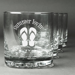 FlipFlop Whiskey Glasses (Set of 4) (Personalized)