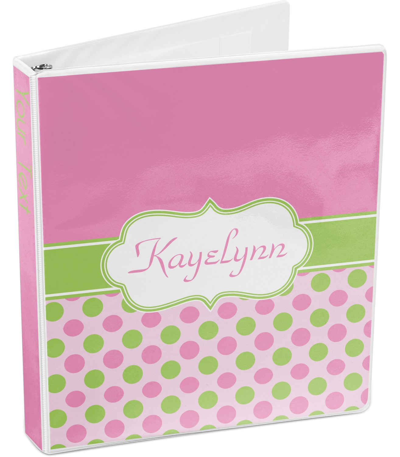 Pink & Green Dots 3-Ring Binder (Personalized