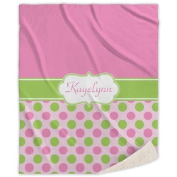 Pink & Green Dots Sherpa Throw Blanket (Personalized)