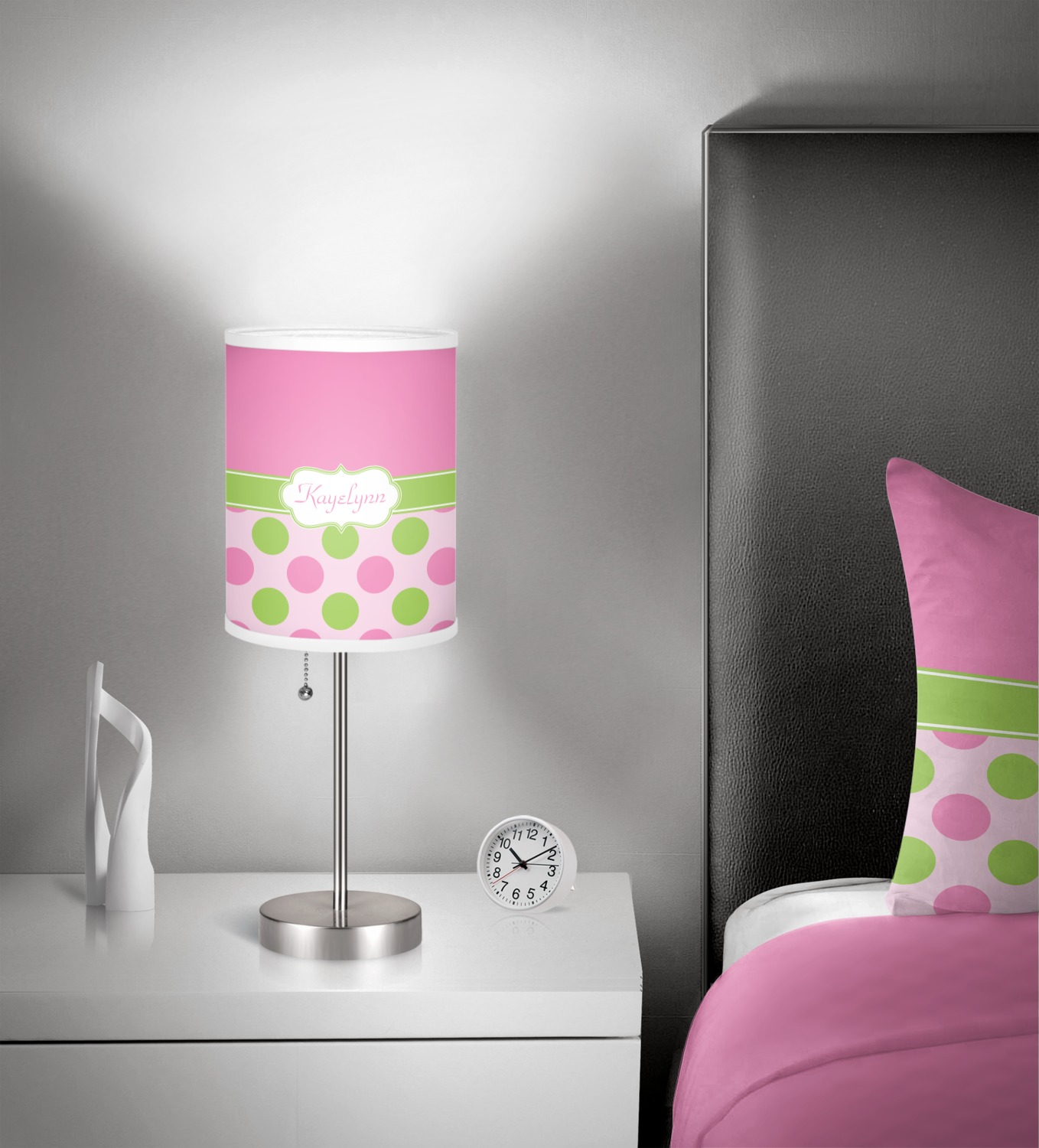 Pink Green Dots 7 Inch Drum Lamp Shade In