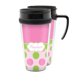 Pink & Green Dots Acrylic Travel Mugs (Personalized)