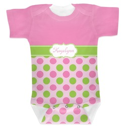Pink & Green Dots Baby Bodysuit (Personalized)