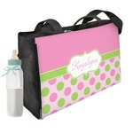 Pink & Green Dots Diaper Bag w/ Name or Text