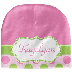 Pink & Green Dots Baby Hat (Beanie) (Personalized)