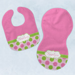 Pink & Green Dots Baby Bib & Burp Set w/ Name or Text