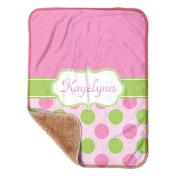 """Pink & Green Dots Sherpa Baby Blanket 30"""" x 40"""" (Personalized)"""