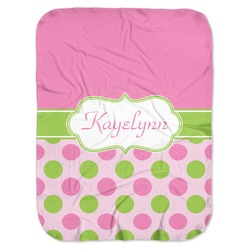 Pink & Green Dots Baby Swaddling Blanket (Personalized)