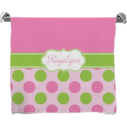 Pink & Green Dots Full Print Bath Towel (Personalized)