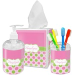 Pink & Green Dots Acrylic Bathroom Accessories Set w/ Name or Text