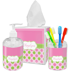 Pink & Green Dots Bathroom Accessories Set (Personalized)