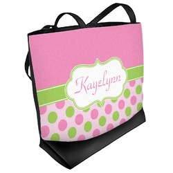 Pink & Green Dots Beach Tote Bag (Personalized)