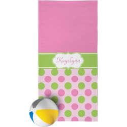 Pink & Green Dots Beach Towel (Personalized)