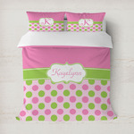 Pink & Green Dots Duvet Cover (Personalized)