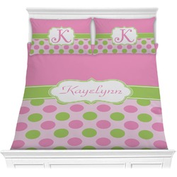 Pink & Green Dots Comforter Set - Full / Queen (Personalized)
