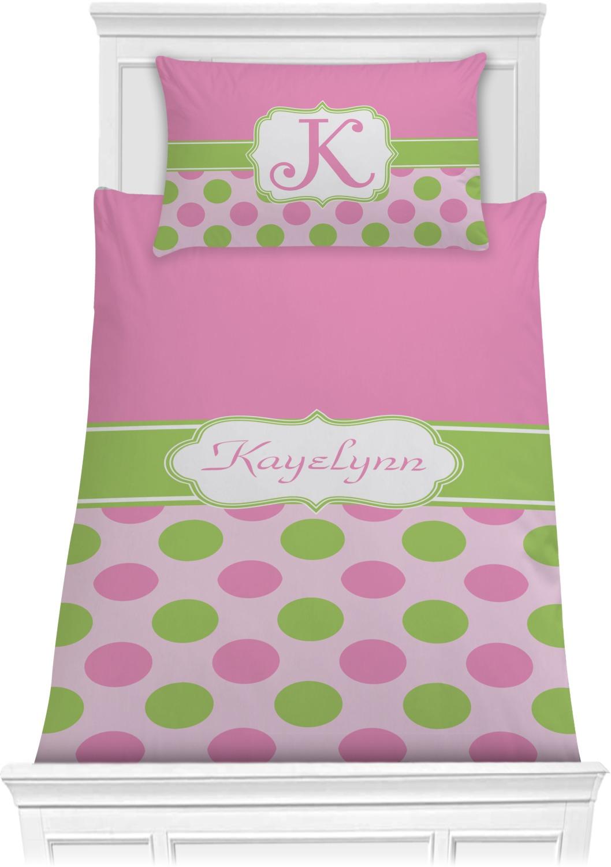 Pink Twin Tails Cartoon Pants Candy Stripper X Amoyamo: Pink & Green Dots Comforter Set
