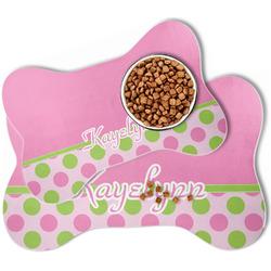 Pink & Green Dots Bone Shaped Dog Food Mat (Personalized)