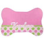 Pink & Green Dots Bone Shaped Dog Food Mat (Personalized)